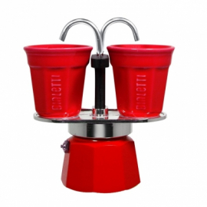Bialetti - Mini Express Set 2 Kávéfőző Piros Csészékkel